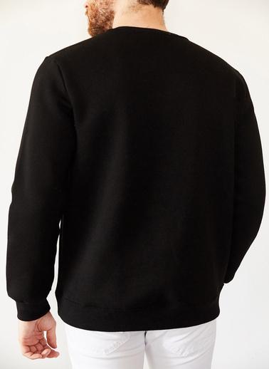 XHAN Saks Nakışlı Üç Iplik Bisiklet Yaka Sweatshirt 1Kxe8-44174-15 Siyah
